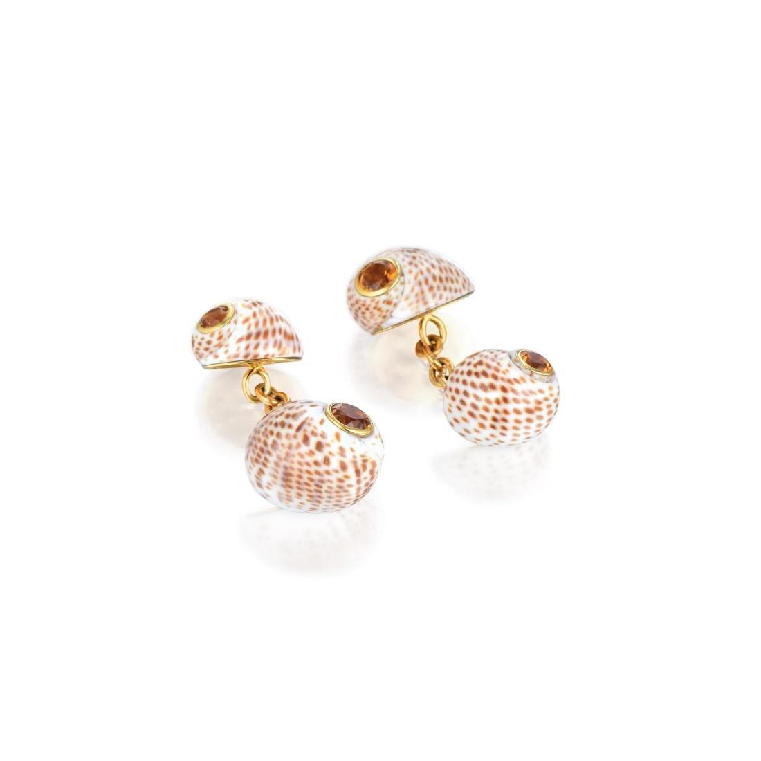 Trianon Seashell and Citrine Cufflinks
