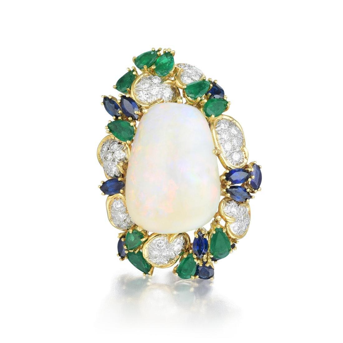 Henry Dunay Opal, Diamond, and Gemstone Brooch