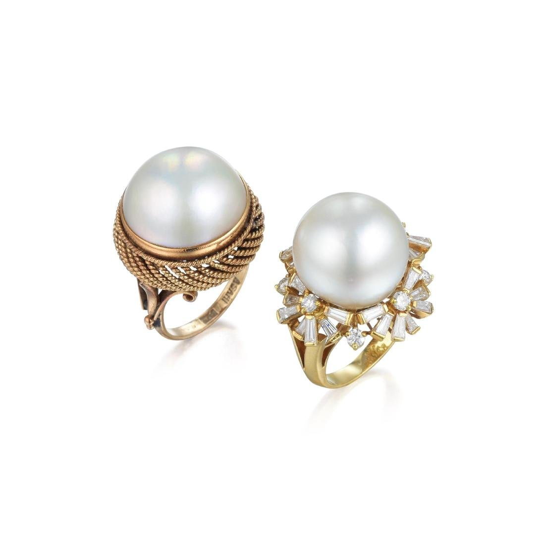 A Lot of Two Pearl and Diamond Rings - 2