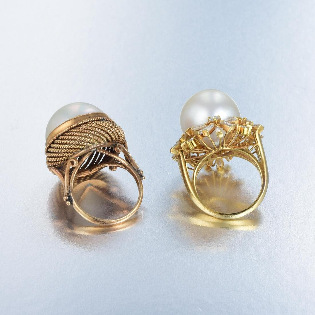 A Lot of Two Pearl and Diamond Rings - 3