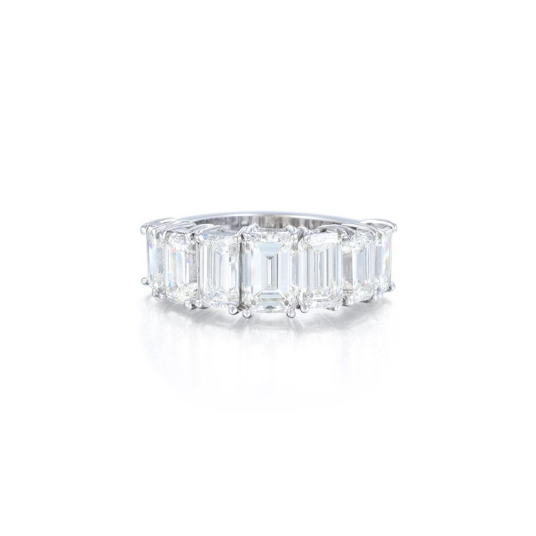 A Seven Emerald-Cut Diamond Wedding Band