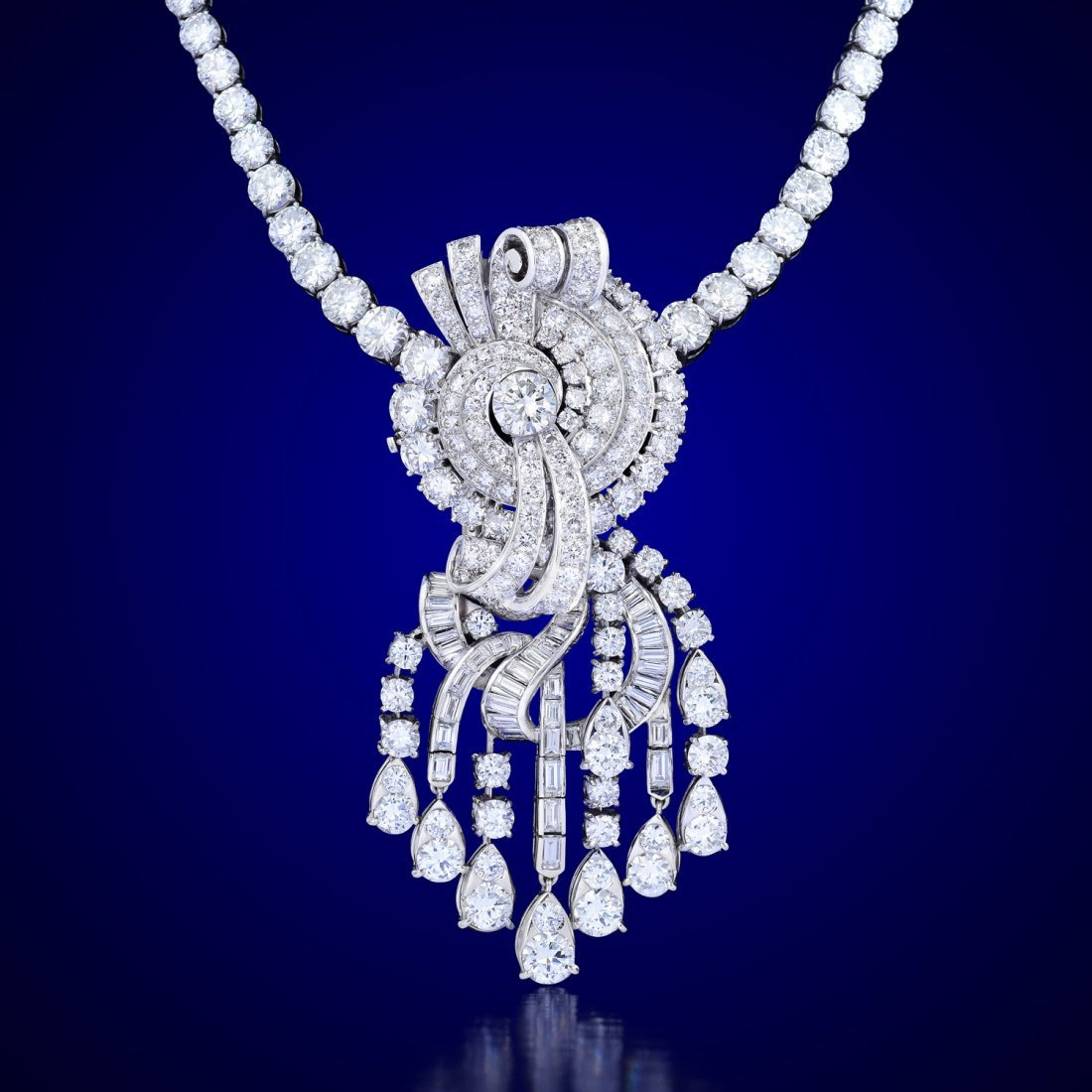 An Impressive 1950s Diamond Necklace and Earrings