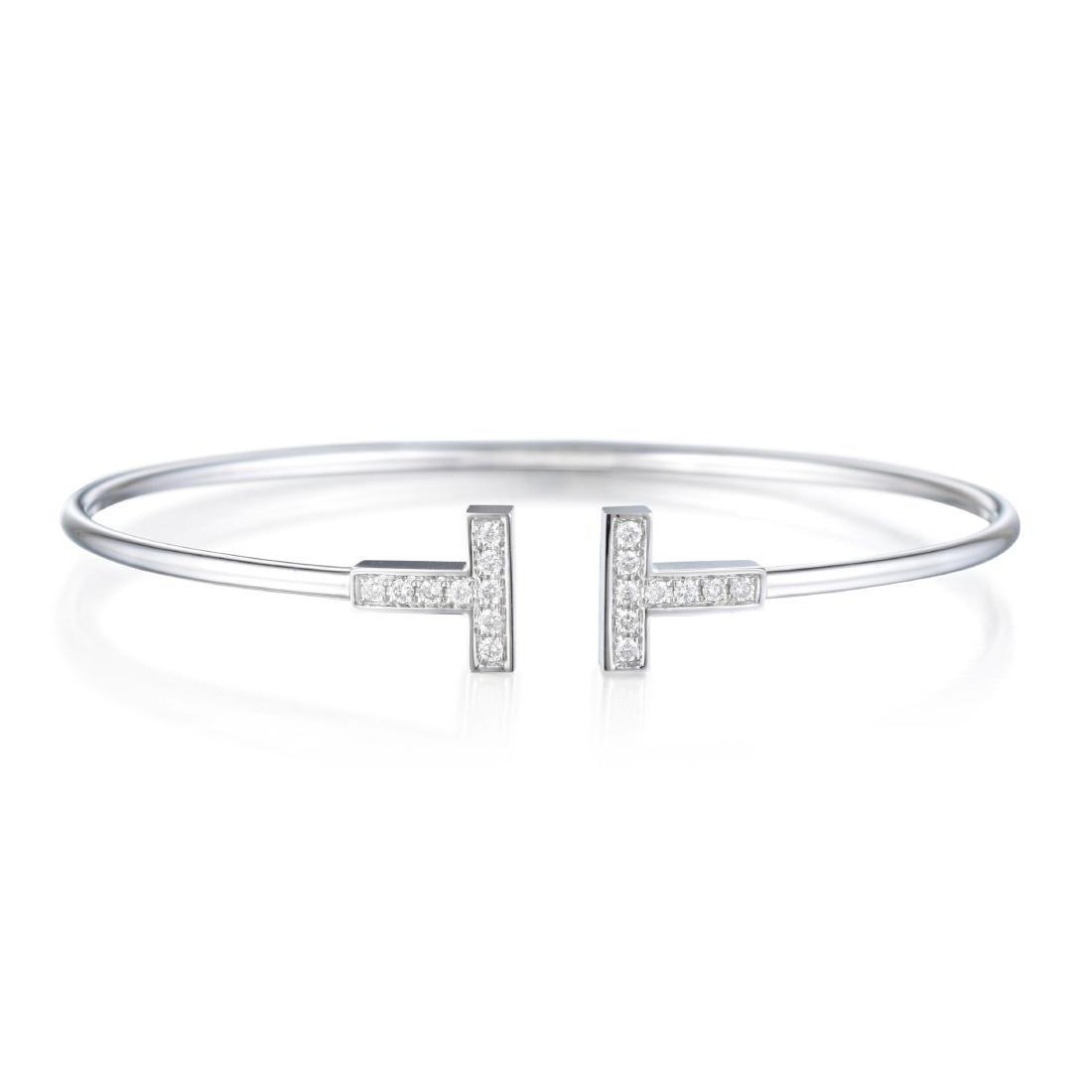 "Tiffany & Co. Diamond Wire ""T"" Bracelet"