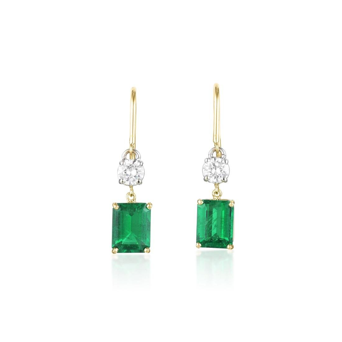 A Pair of Emerald and Diamond Drop Earrings