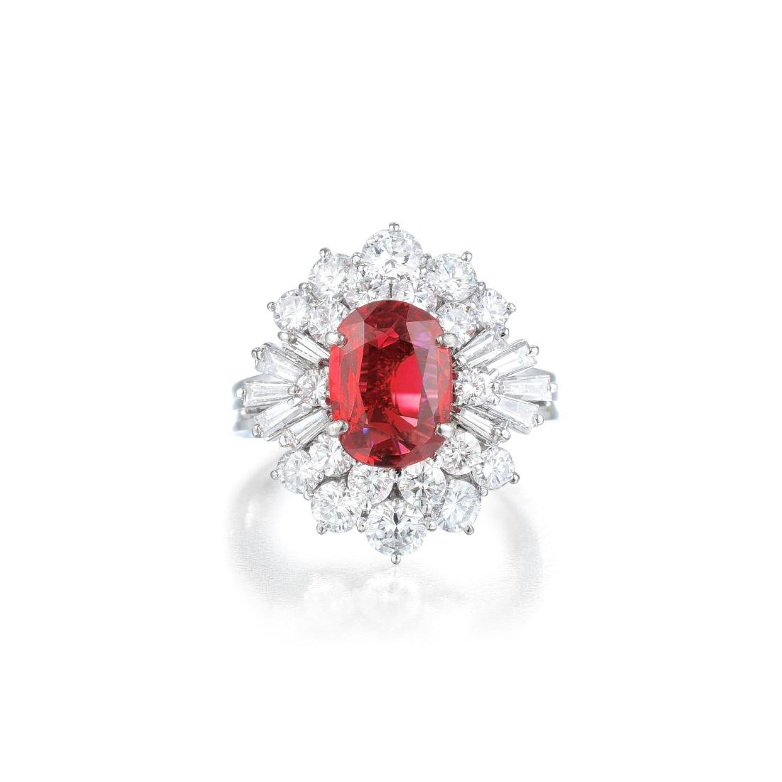 An Unheated Ruby and Diamond Ring