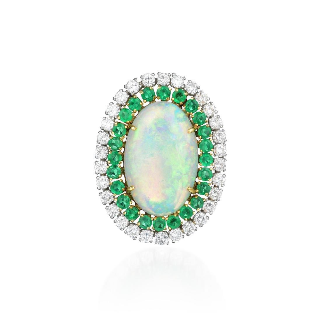 An Opal, Diamond and Emerald Pin