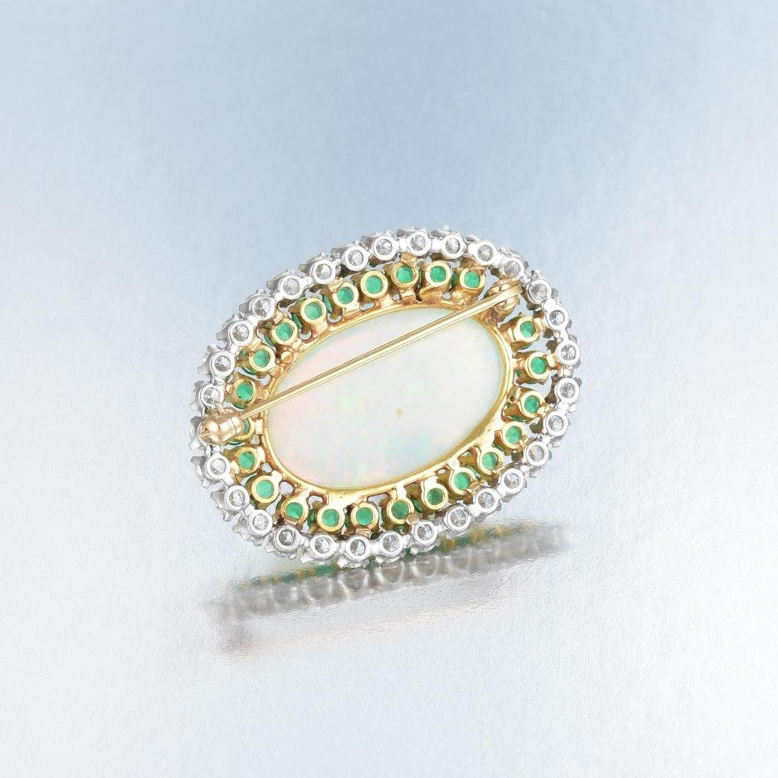 An Opal, Diamond and Emerald Pin - 2
