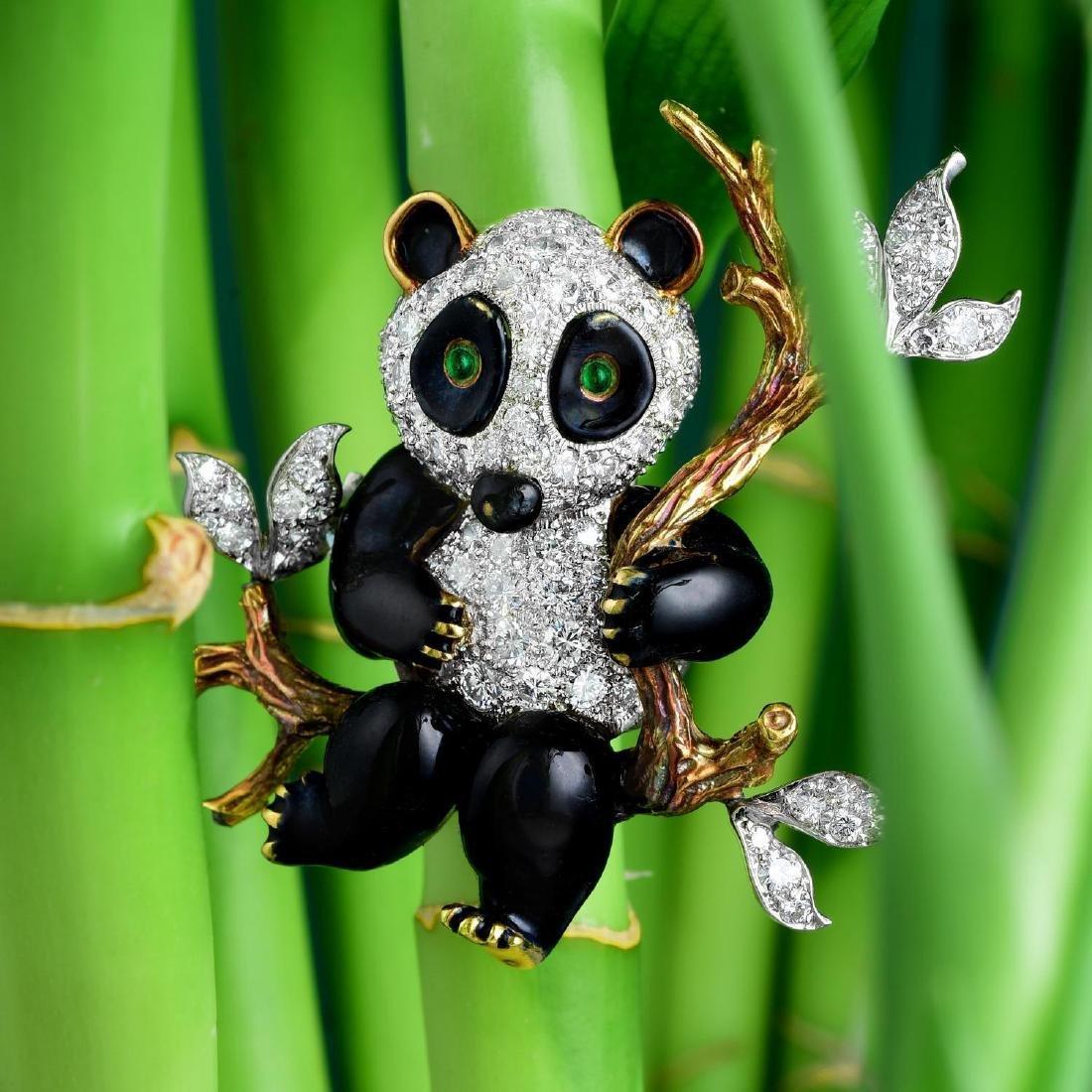 Donald Claflin Tiffany & Co Enamel Diamond Panda Brooch