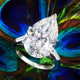 A 10.87-Carat Pear-Shaped Diamond Ring with Jacket
