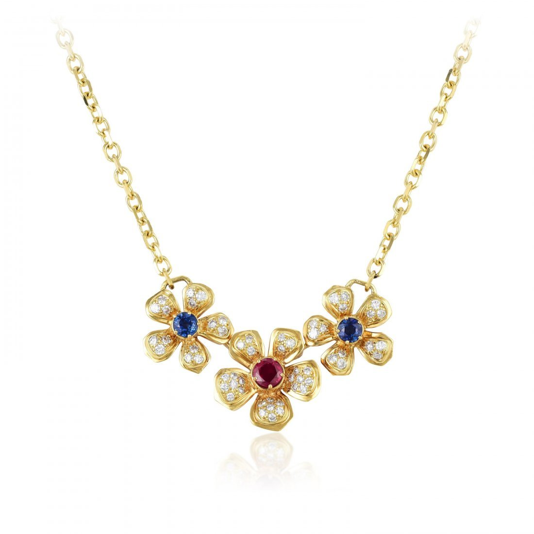 Harry Winston Sapphire Ruby Diamond Pendant Necklace