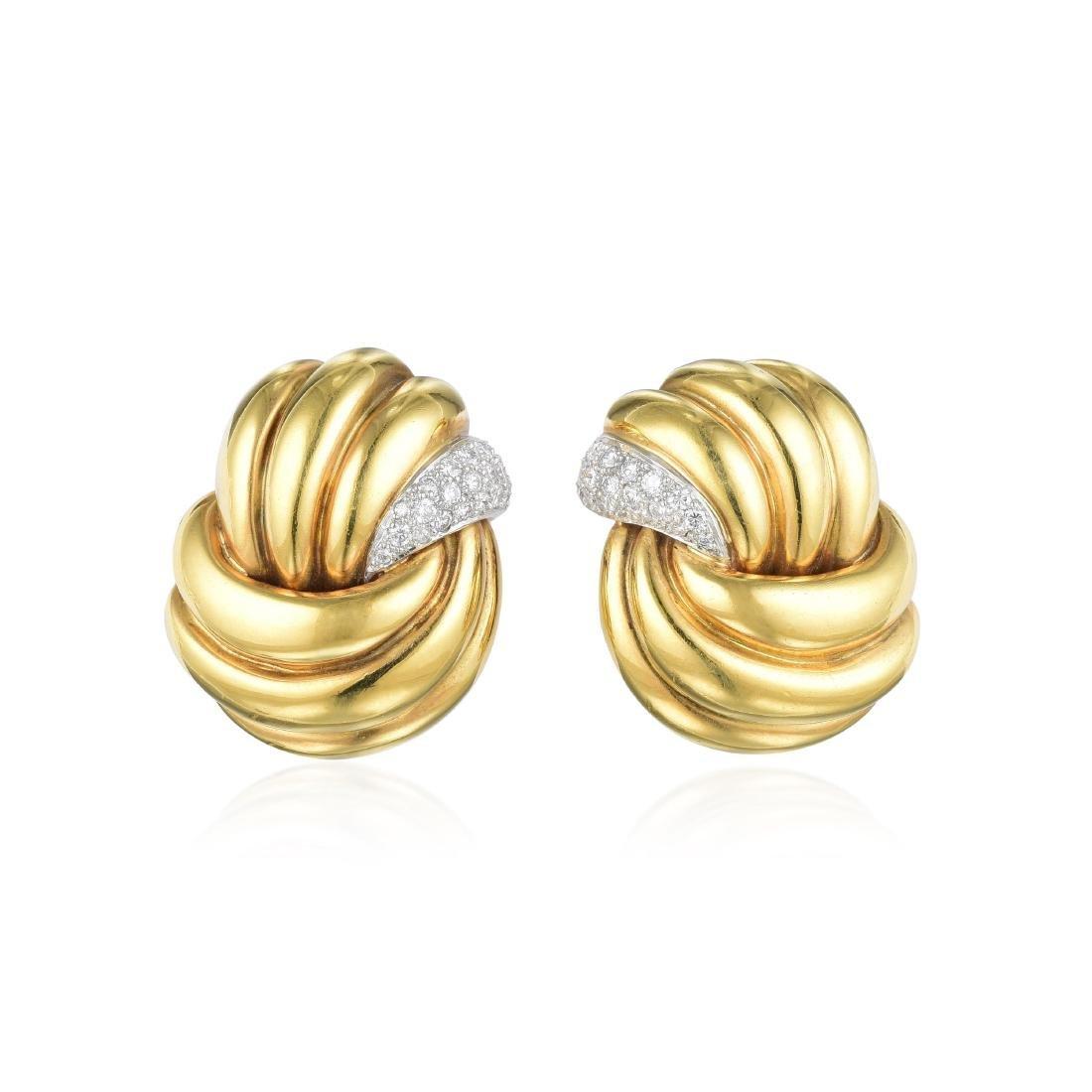 Verdura Gold and Diamond Earrings