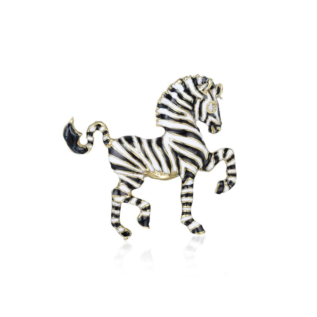 Martine Gold and Enamel Zebra Brooch