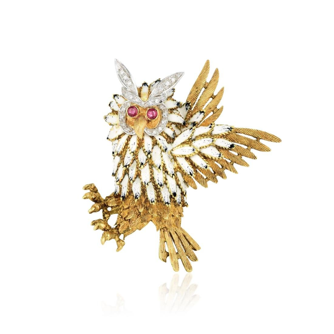 A Diamond and Enamel Owl Pin