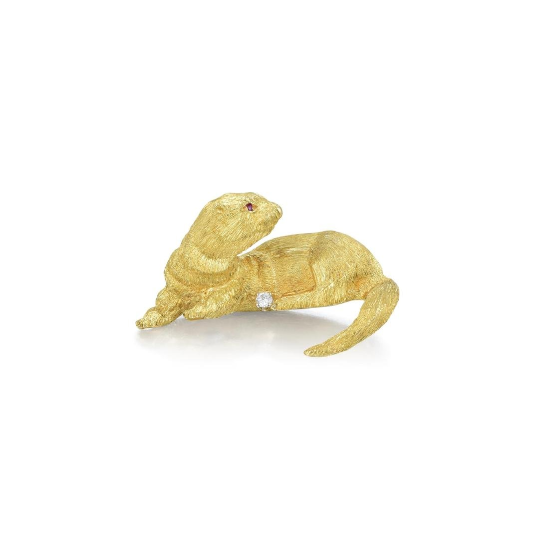 A Gold and Diamond Otter Brooch