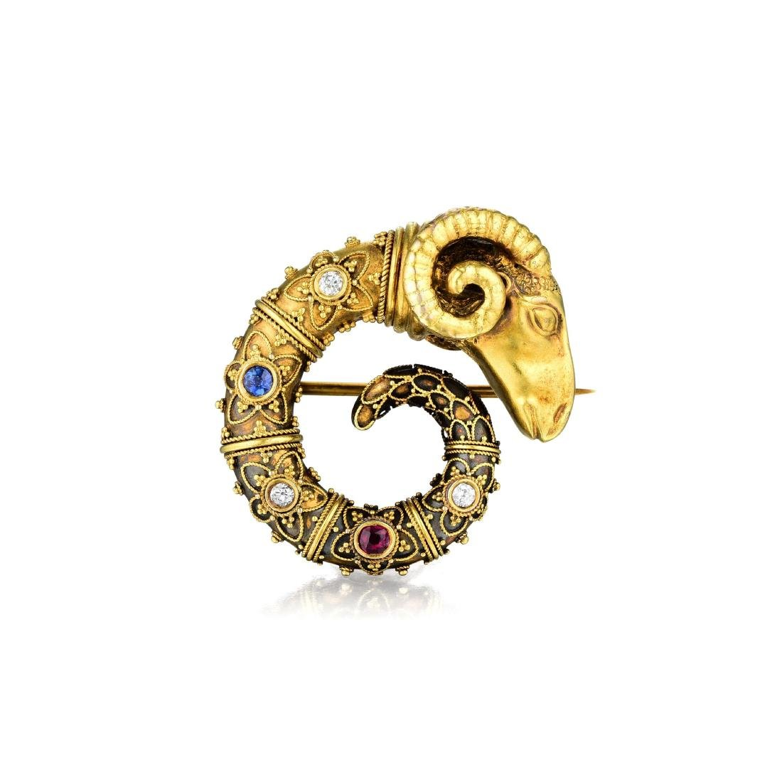 A Ram's Head Ruby Diamond and Sapphire Pin