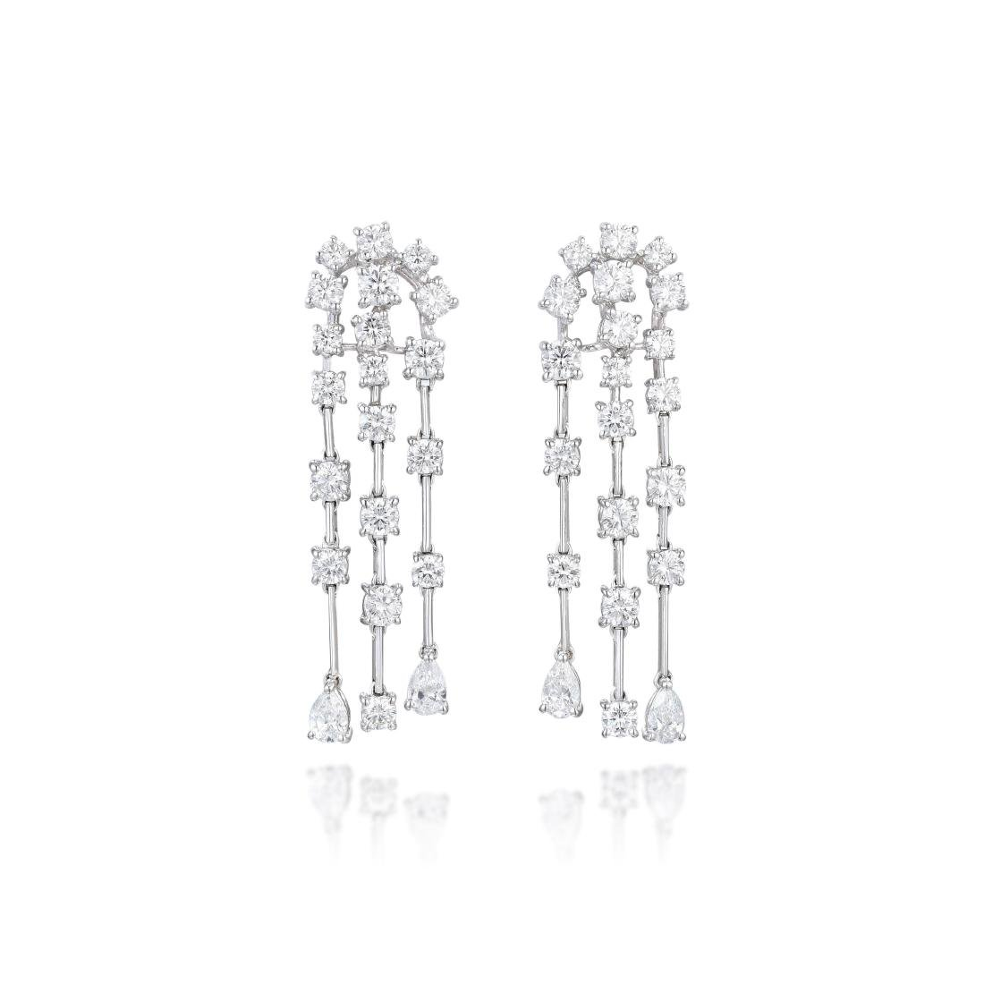 A Pair of Diamond Chandelier Earrings