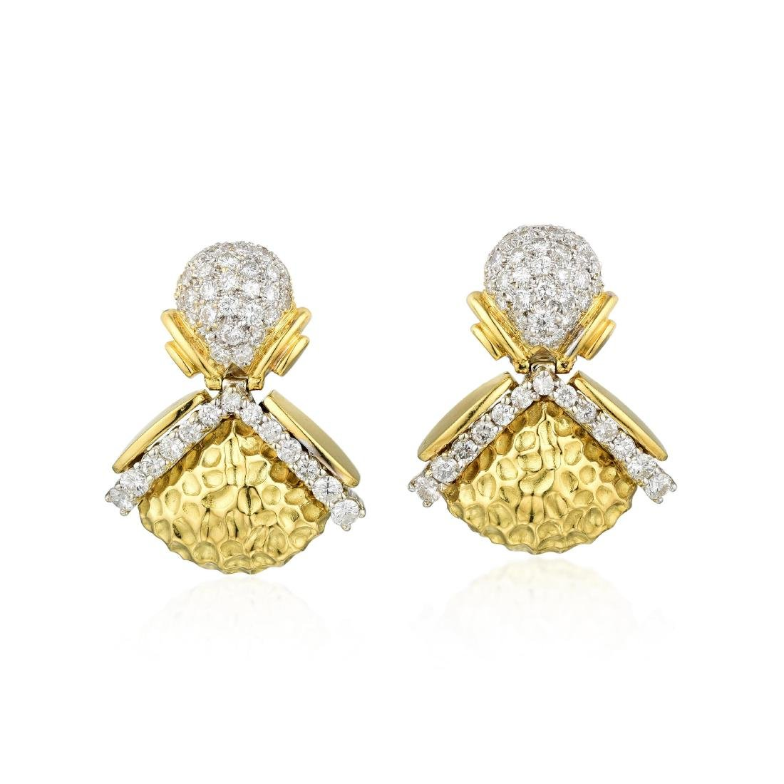 A Pair of Diamond Dangle Earrings
