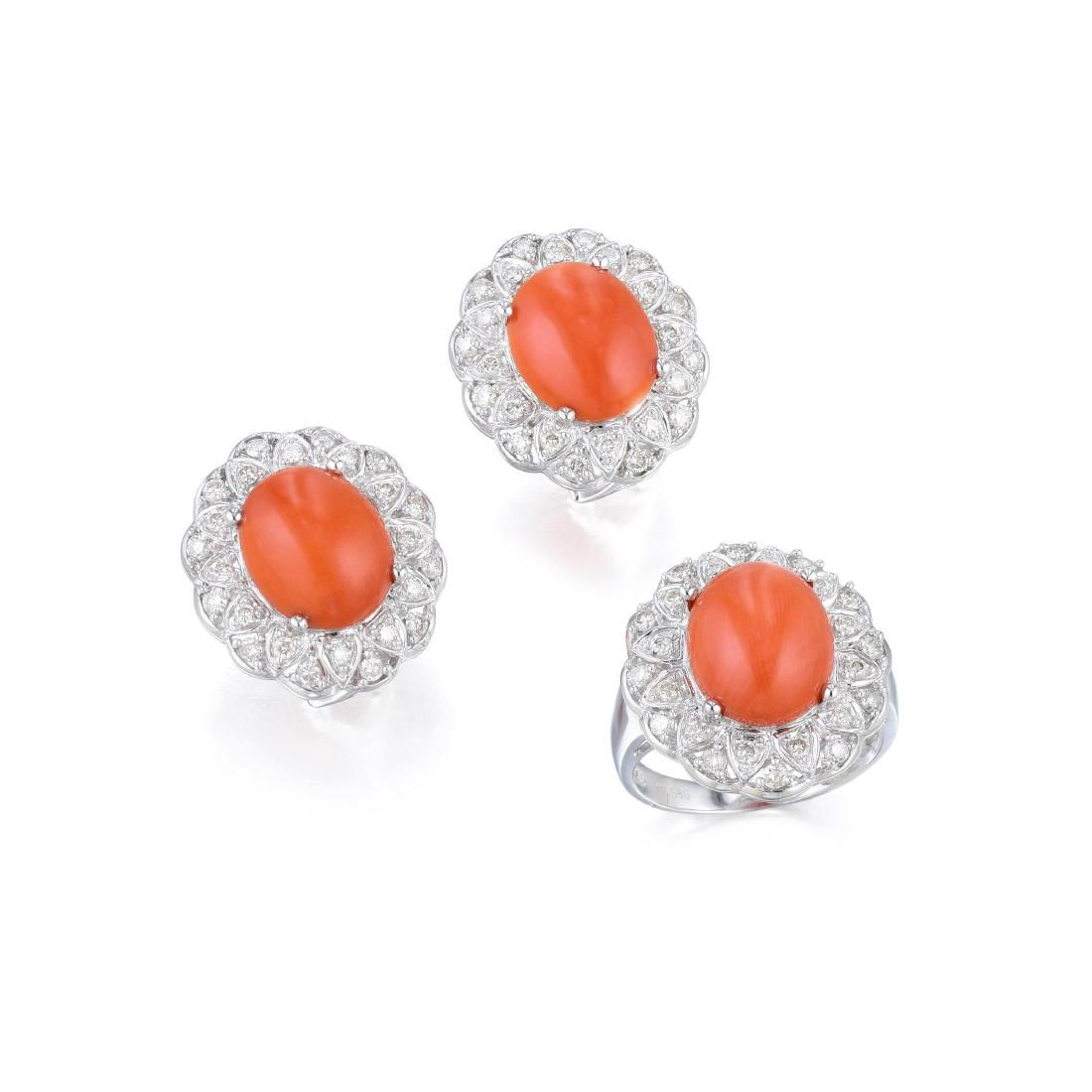 A Set of Coral and Diamond Earrings and Ring