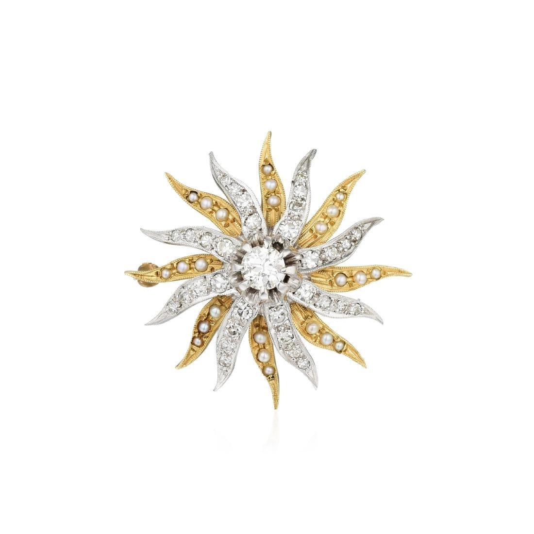An Antique Sunburst Diamond and Pearl Brooch/Pendant
