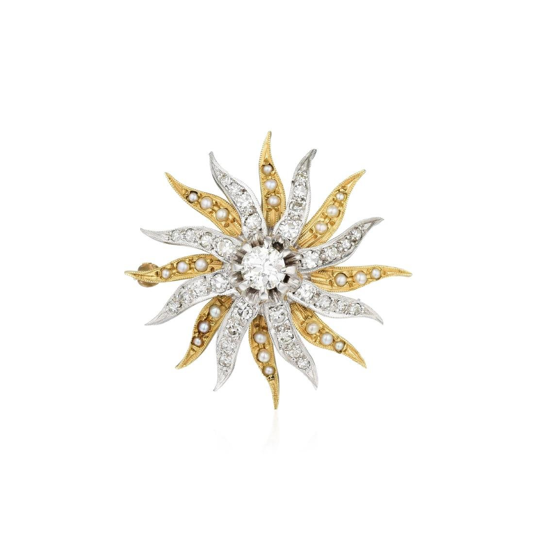 An Antique Sunburst Diamond and Pearl Brooch/Pendant