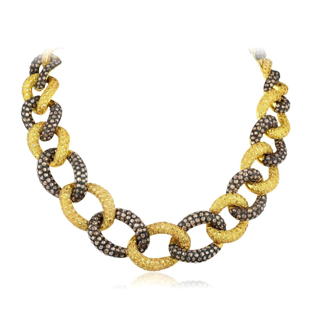 Vagelis Diamond and Sapphire Chain Link Necklace