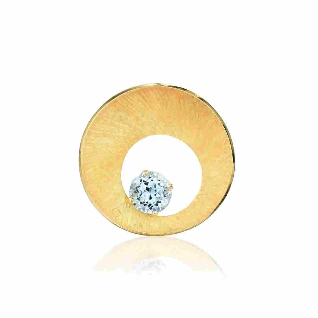 A Modernist Gold and Aquamarine Pendant / Brooch