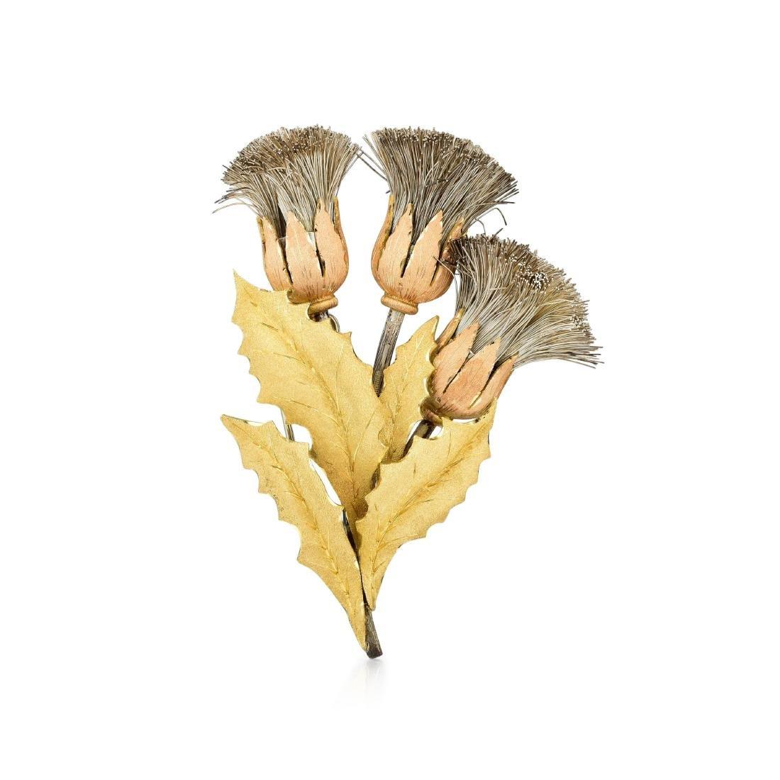 Buccellati Triple Thistle Brooch