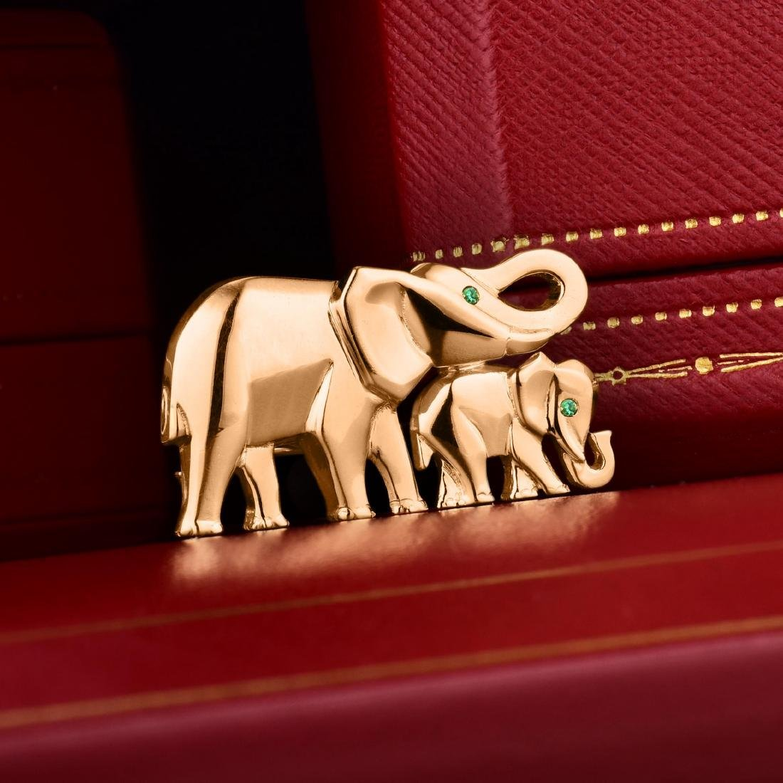 Cartier Elephant Mother and Calf Brooch