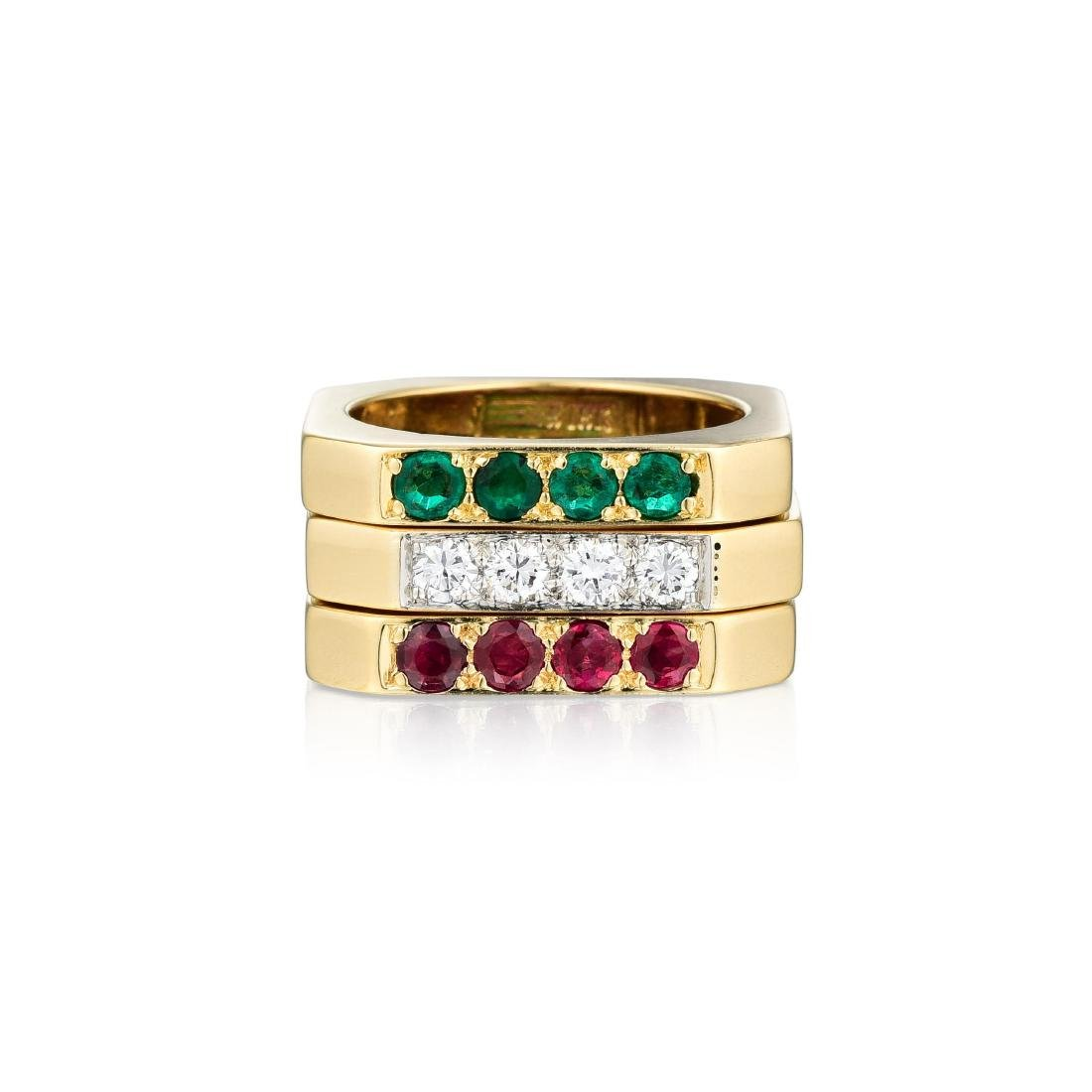 David Webb Diamond Ruby and Emerald Ring Set