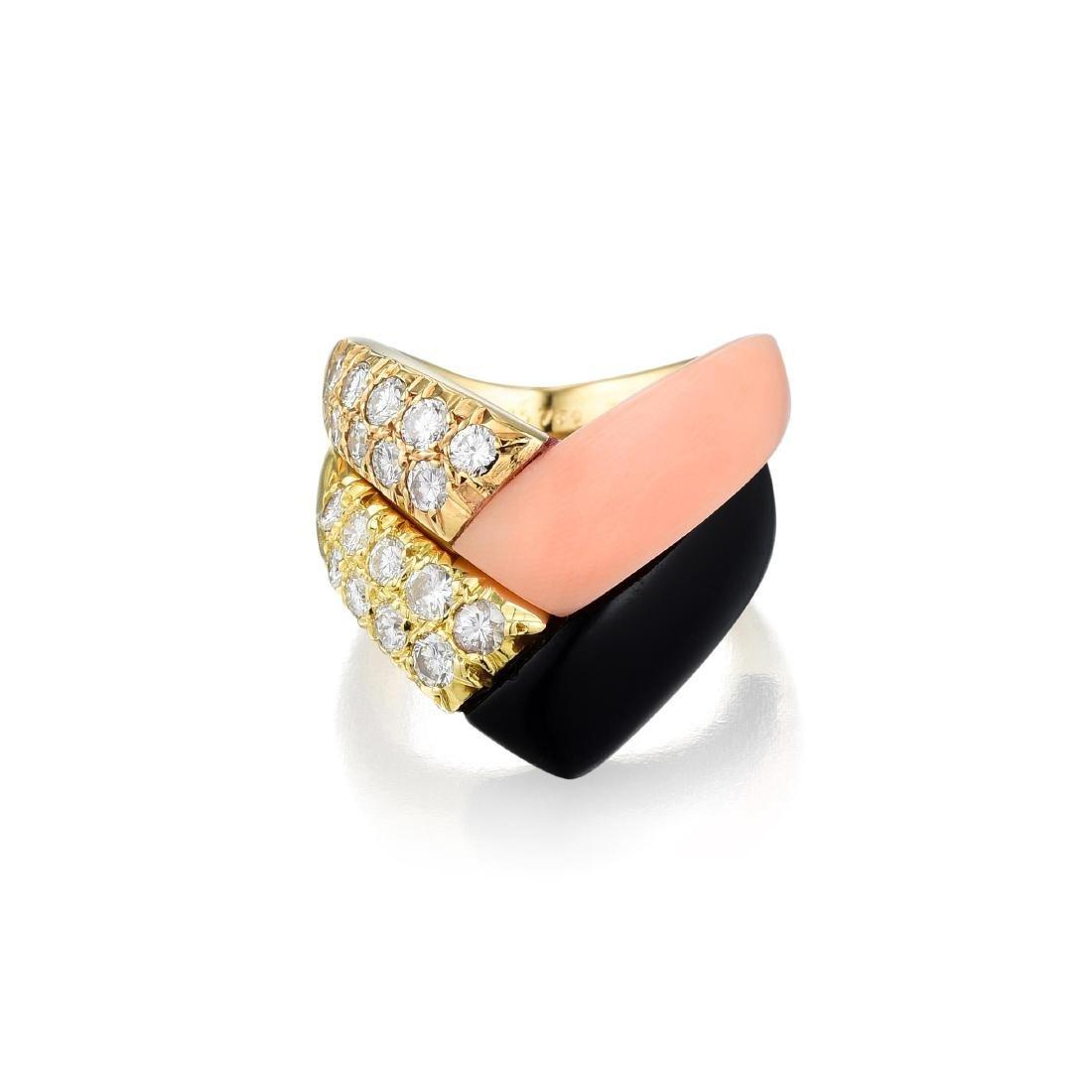 Van Cleef & Arpels Coral and Onyx Diamond Ring Stack