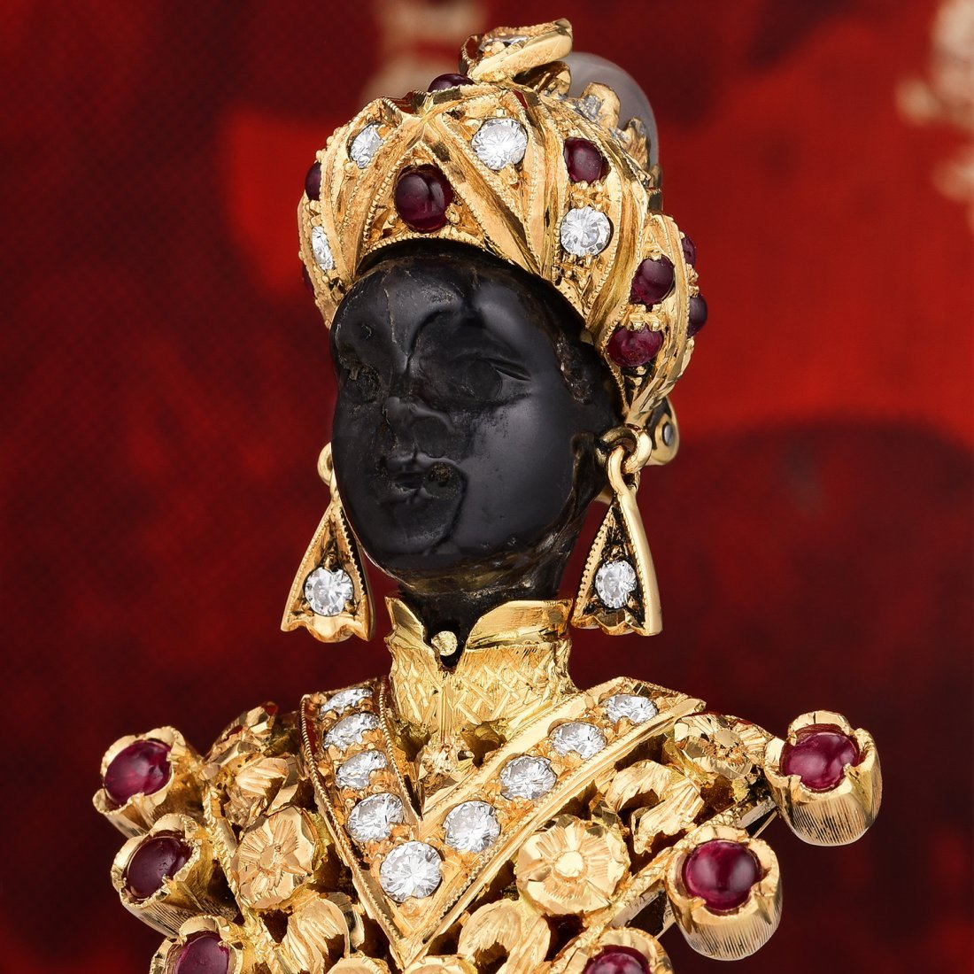 Nardi 'Blackamoor' Ruby and Diamond Brooch