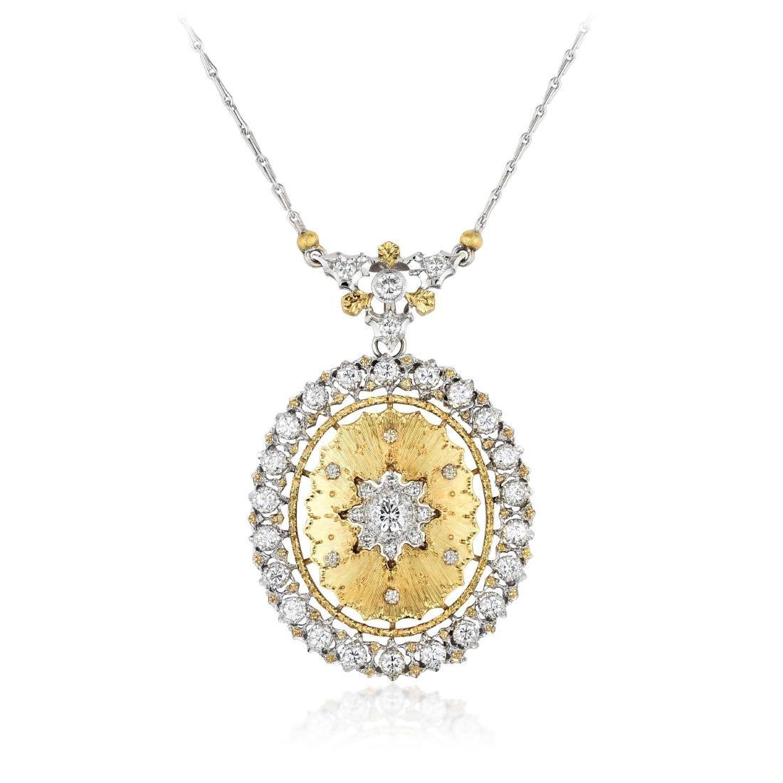 Buccellati Gold Diamond Pendant Necklace / Brooch