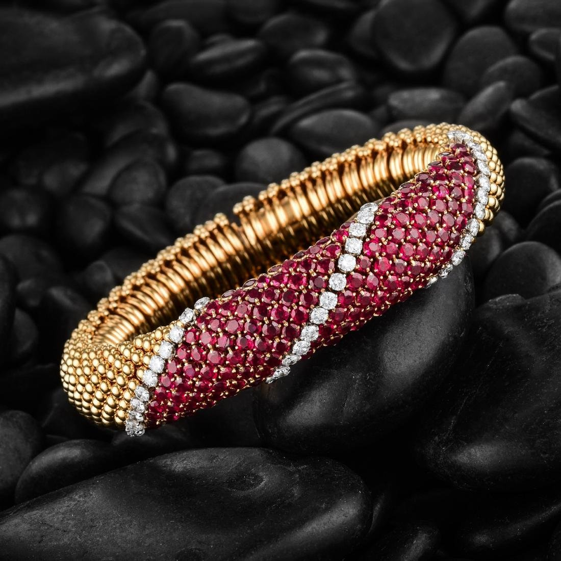 Van Cleef & Arpels 'Couscous' Ruby and Diamond Bracelet