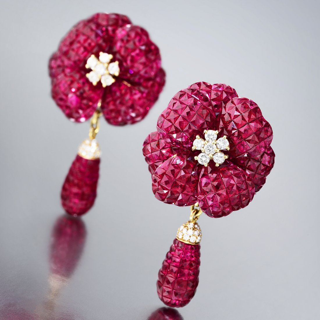 A Pair of Invisibly-Set Ruby Earrings