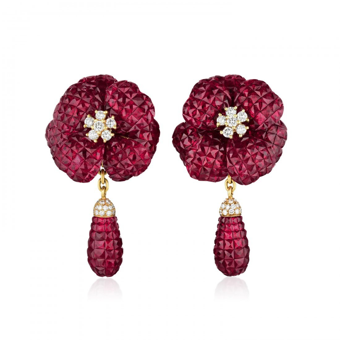 A Pair of Invisibly-Set Ruby Earrings - 2
