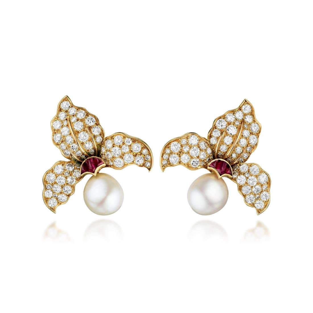 A Pair of Cultured Pearl Diamond and Ruby Ear Clips,