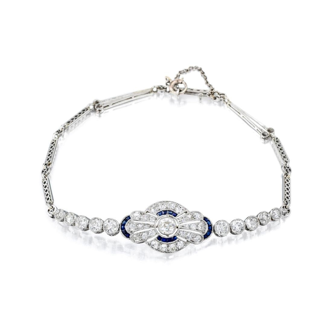 An Art Deco Platinum Diamond and Sapphire Bracelet