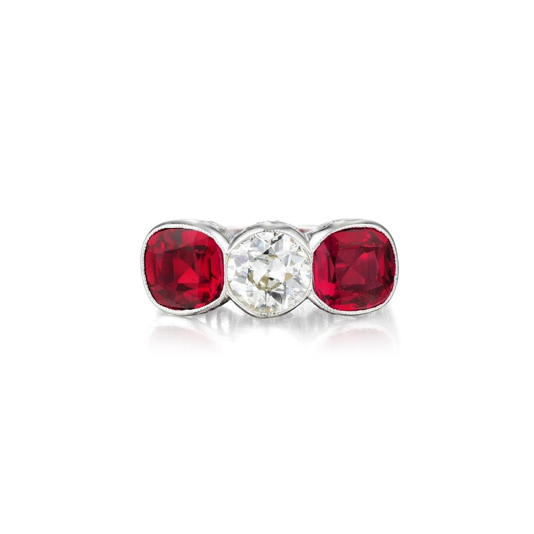 An Art Deco Diamond and Synthetic Ruby Ring