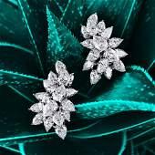 Tiffany & Co. Platinum Diamond Cluster Earrings