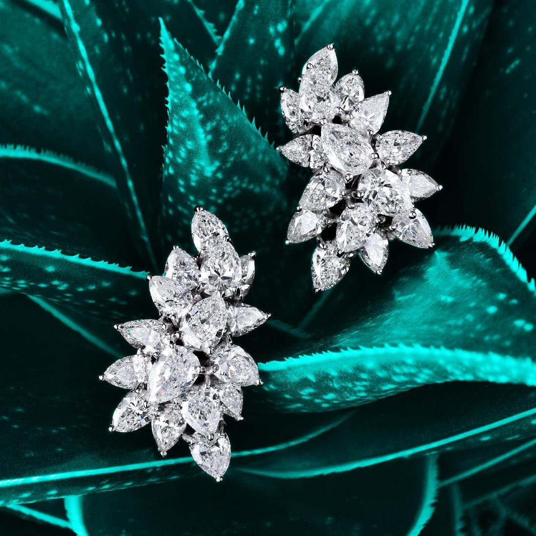 Tiffany & Co. Platinum Diamond Cluster Earrings