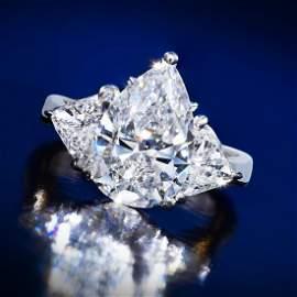 A 4.50-Carat Pear-Shaped Diamond Ring