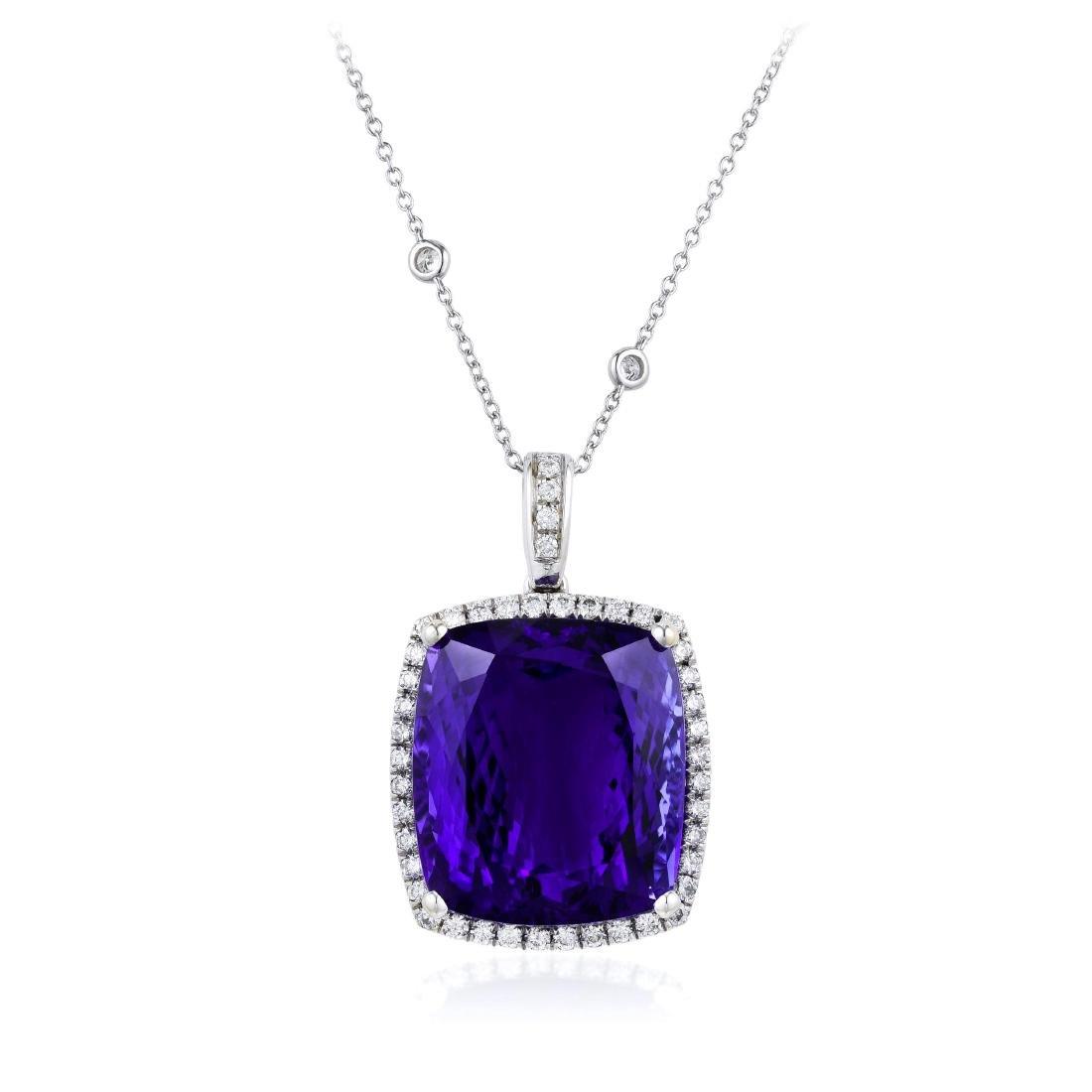 A Tanzanite and Diamond Pendant Necklace