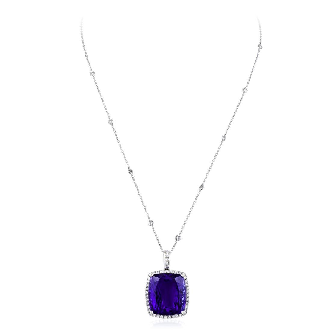 A Tanzanite and Diamond Pendant Necklace - 2