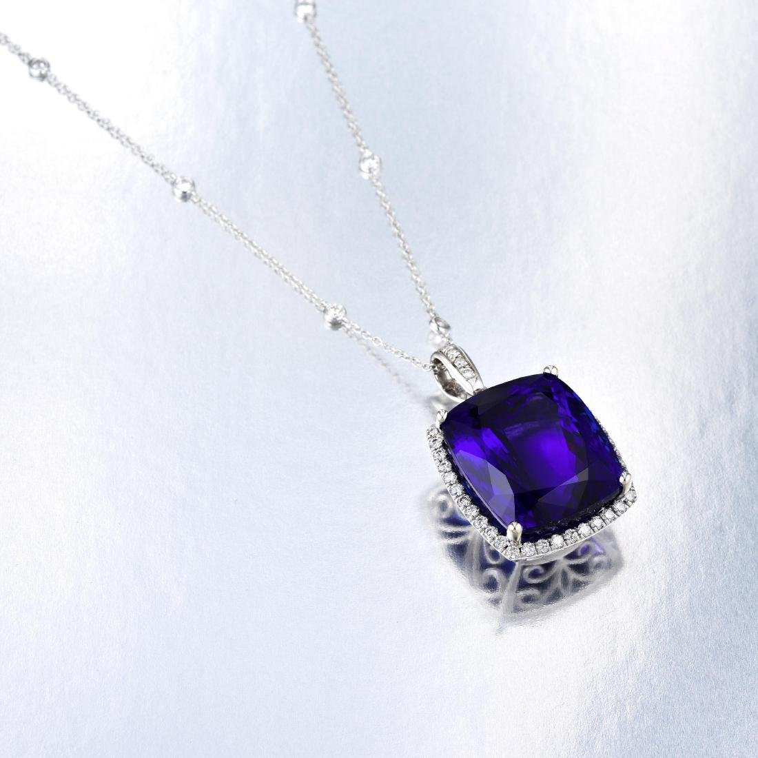 A Tanzanite and Diamond Pendant Necklace - 4