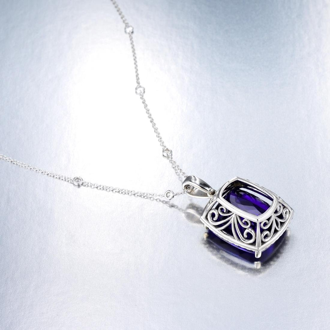 A Tanzanite and Diamond Pendant Necklace - 5