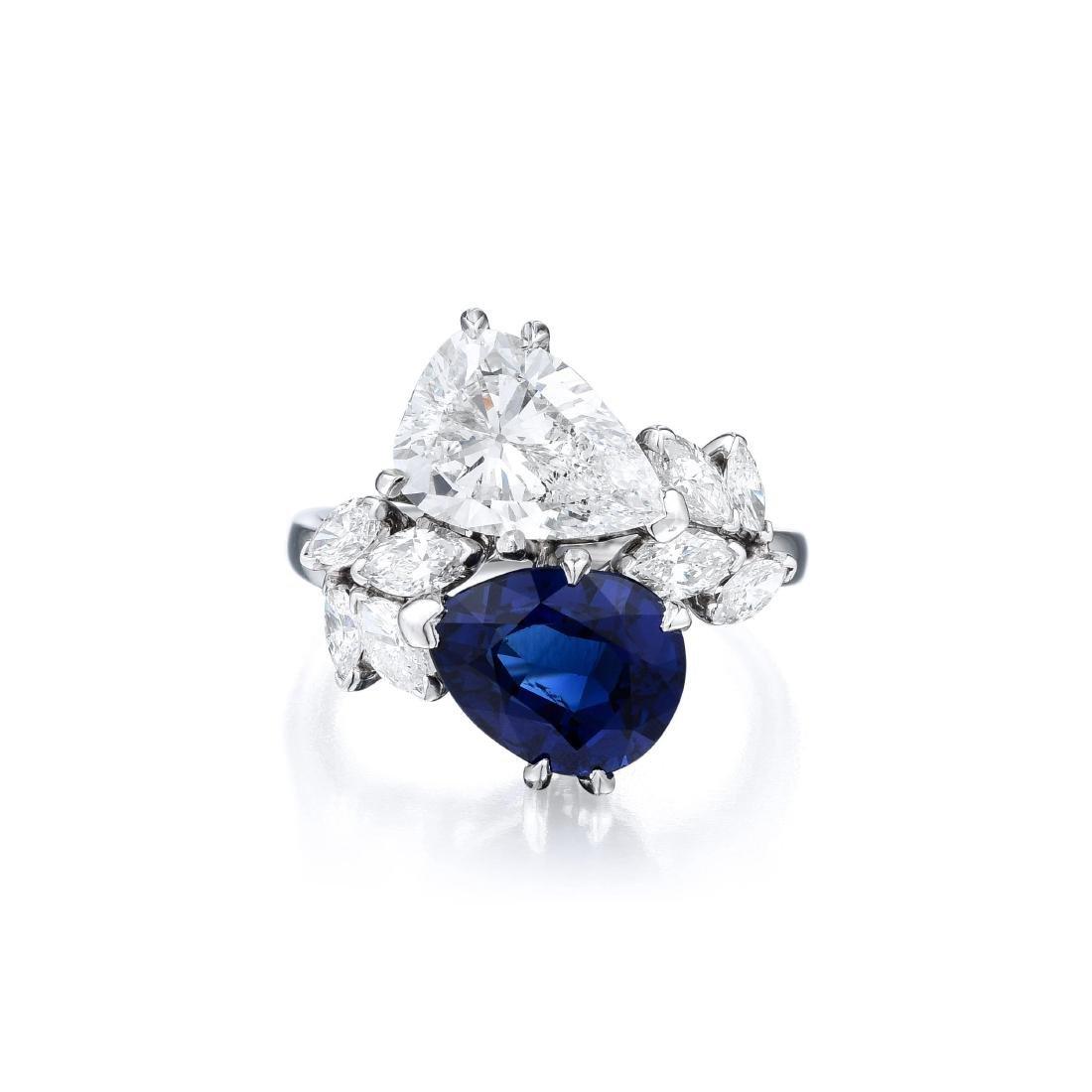 A Platinum Sapphire and Diamond Ring