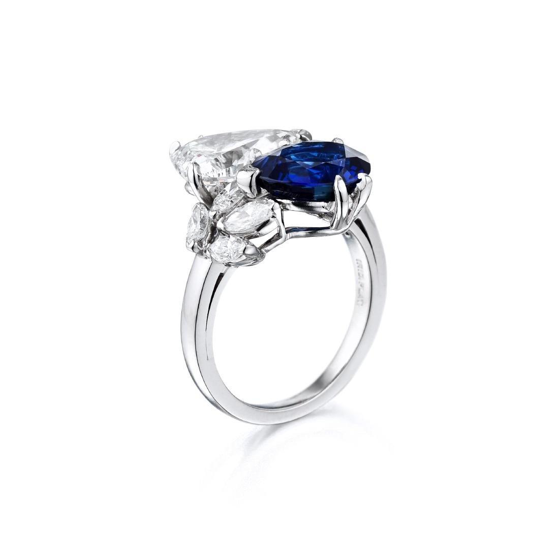 A Platinum Sapphire and Diamond Ring - 2