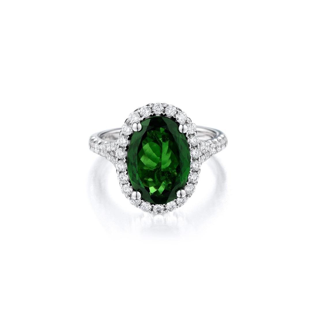 A 3.62-Carat Tsavorite and Diamond Ring