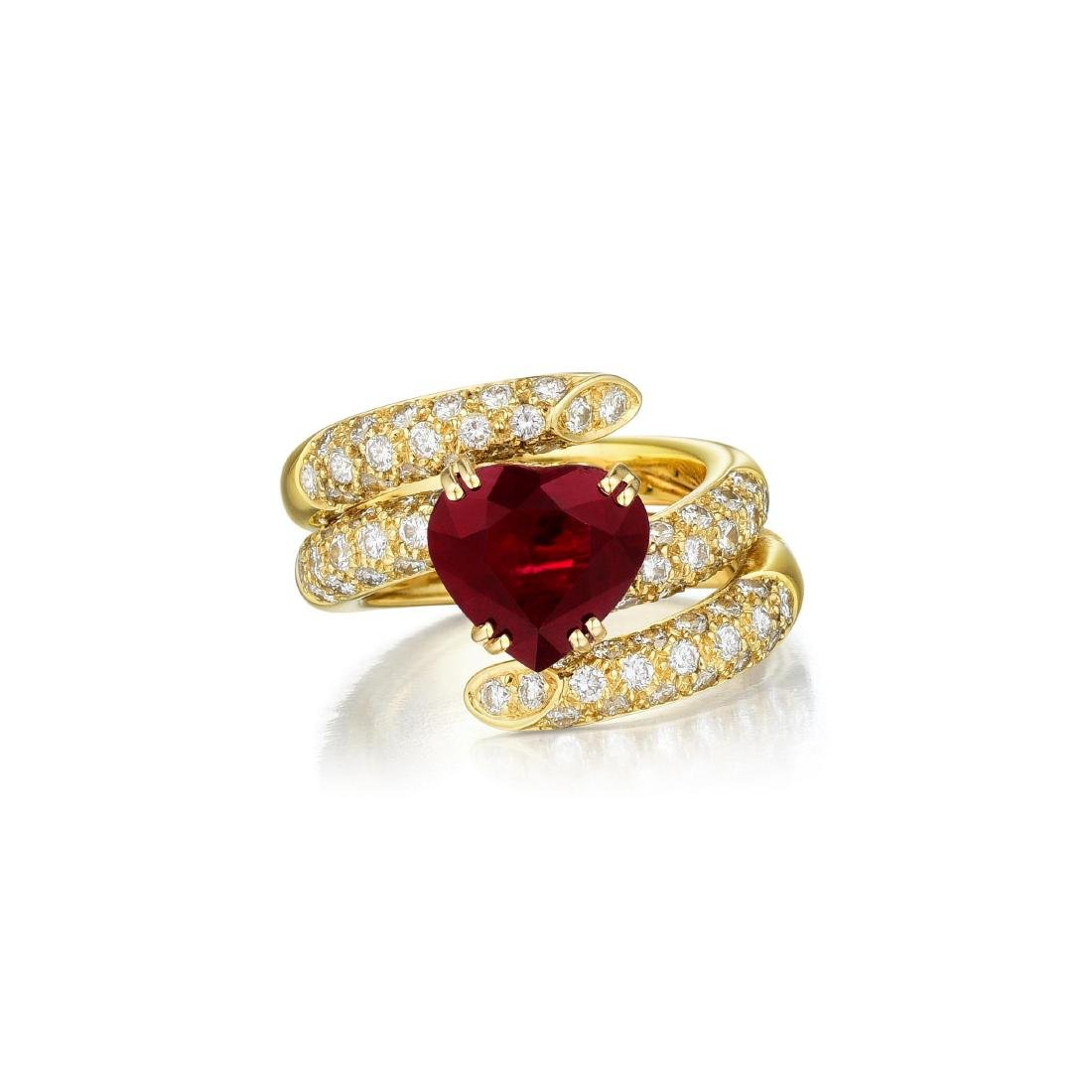 A Burmese Ruby and Diamond Ring, French