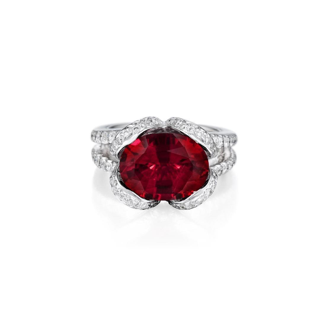A Rubelite and Diamond Ring